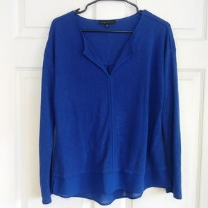 Sanctuary blue sheer blouse sweater